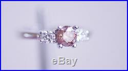 0.50 Carat Fancy Pink Natural Diamond 3 Stone Ring14K WG Valentineday Spl. Sale
