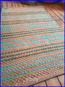 100% Jute Teal Turquoise Striped Rectangle Braided cottage rug rustic SALE