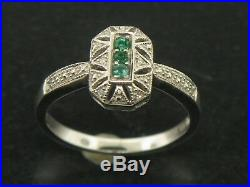 10K White Gold Emerald and Diamond Ring Size 7 (Brand New Sale Jewelry)