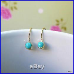 14K Solid YELLOW GOLD Round 4 mm TURQUOISE Drop Earrings HANDMADE Holidays Sale