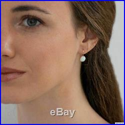 14K Solid Yellow Gold 8mm White Opal Drop Earrings Handmade Holiday Sale