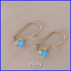 14K Solid Yellow Gold Round 4mm Blue Opal Drop Earrings Handmade Holiday Sale