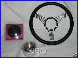 14 Chrome Billet Leather Banjo Steering Wheel Street Rod Custom GM Adapter SALE