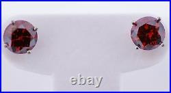 1Cts Red Diamond Pair Stud Earrings Si2 Color Enhanced Valentineday Spl. Sale
