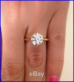 2.00 ct Round Cut H/VS2 Diamond Solitaire Engagement Ring 14K Yellow Gold SALE