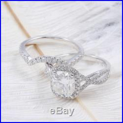 2.40Ct Round Cut White Diamond Unique Engagement Rings Sale Band 14K White Gold