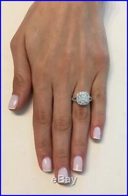 4 ct Cushion Halo F/SI1 Round Cut Diamond Engagement Ring 14K White Gold Sale