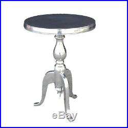 Aluminium Silver Metal Round Side Occasional Table / Wine Table SALE RRP £105