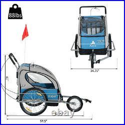 BLACK FRIDAY SALE 2 IN 1 Double Baby Child Bike Trailer Folding Stroller Jogger