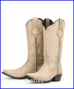 Brand new CREAM with embroidery womens ladies cowboy boots sale pricing! Size 8