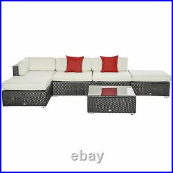 Clearance Sale 6pcs All-weather Rattan Sofa Wicker Sectional Patio Furniture