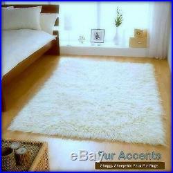 Clearance Sale White Shag Faux Fur Area Rug Rectangle