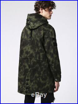 Diesel Mens Coat Jacket Size Large Brand New £250 Green Army Hooded Sale New