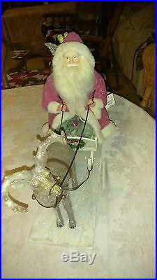 Estate Sale Xlarge Christmas Santa Claus With Reindeer And Sleigh Set Brand New