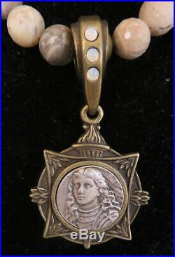 FRENCH KANDE Cafe Au Lait Beige Opal Medallion Necklace 17 Brand New-SALE