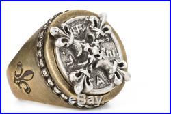 FRENCH KANDE Swarovski Signet Ring with X Medallion- Sz 8 Brand New W Tags SALE