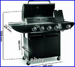 Gas Barbecue Grill BBQ 4+1 Burners with Cover Black Outdoor Garden Patio SALE UK