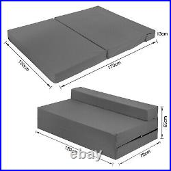 Grey Cotton Folding Chair Bed Double Z bed Fold Out Sofabed Guest Mattress SALE