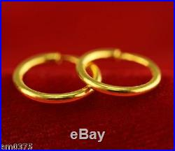 Hot Sale 999 Pure 24K Yellow Gold Earrings/ Women's Smooth Circle Lucky Hoop10mm