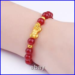 Hot Sale Pure24K Yellow Gold Bracelet 146mm 3D Lucky Pixiu Link Red Agate Chain