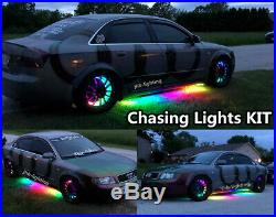 JHB 4PCS single row LED 15.5Chasing Wheel Lights +2PCS 6.5FT Underglow Strips