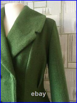 LADIES TAILORED 1940s/50s Vintage SwingWINTER COAT olive green 8 22 SALE