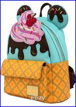 LOUNGEFLY X Disney Mickey & Minnie Sweets Ice Cream Mini Backpack SALE WDBK1476