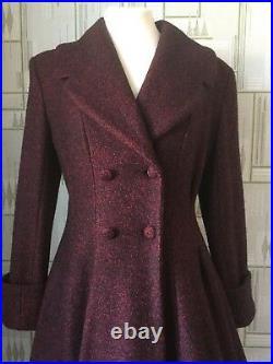 Ladies Tailored 1940s/50s Vintage Swing Style Winter Coat in RED Fleck SALE