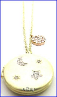 MEIRA T Brand New MOON & STAR LOCKET- 14k Yellow Gold- 16-18 in adjustable-SALE