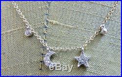 Meira T Mini Moon & Star Bezel Necklace 14k Yellow Gold & 14k WG Brand New SALE