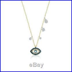 Meira T Stunning Brand New Blue Diamond Evil EYE Necklace 14k 16-18 -ON SALE