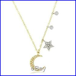 Meira T Stunning Brand New Moon & Star Diamond Necklace 14k YG 16-18 in SALE