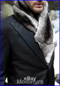 Men's Brand New Genuine Chinchilla Fur Scarf CLEARANCE SALE