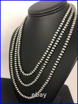 Native American Navajo Pearls 4 mm St Silver Bead Necklace 60 Sale Gift S422