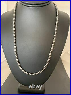 Native American Navajo Pearls 4mm Sterling Silver Bead Necklace 18 Sale 820