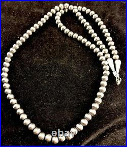 Native American Navajo Pearls 4mm Sterling Silver Bead Necklace 21 Sale