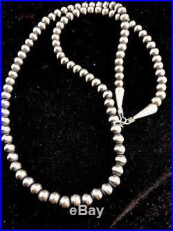 Native American Navajo Pearls 5 mm Sterling Silver Bead Necklace 28Sale 328