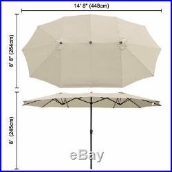 PRE-SALE 15ft Double-sided Twin Patio Umbrella Sun Shade Crank Garden Market