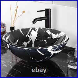 PRE SALE Bathroom Glass Vessel Sink Round Marbling Pattern Vanity Bowl Basin