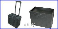 Premium Rolling Sales Display Travel Carrying Case & 12 Black Stackable Trays