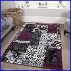 Purple Black Grey Modern Patchwork Rug Soft Milan Living Room Carpet Mat Sale