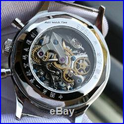 SALESeagull 1963 ST1901 Venus 38mm Chronograph Sapphire, Display Back, 2 Straps