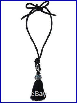 SALE Brand NEW LANVIN Tassel Detail Cord Pendant Tasselled Crystal Necklace RARE
