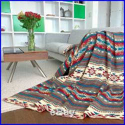SALE! HUGE SOFT & WARM ALPACA WOOL BLANKET NATIVE AMERICAN AZTEC 190x232 cm
