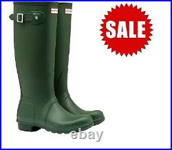 SALE Ladies Original Tall Hunter Wellies Wellington Boots Green Size UK 5