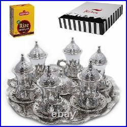SALE (SET of 6) Turkish Tea Glasses Set Saucers Holders Set (SILVER)