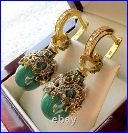 SALE! SUPERB RUSSIAN GENUINE MALACHITE STERLING SILVER 925 EARRINGS with ENAMEL