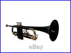 SUMMER SALEBrand New Black Brass Bb FLAT Trumpet Free Case+M/P FAST SHIP