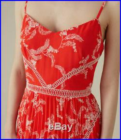 Sale Brand New Karen Millen Red Pleated Floral Maxi Dress Size 12 Rrp £299
