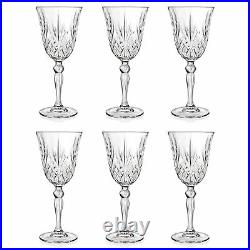 Set of 6 RCR Italian Crystal Melodia White Wine 21 cl Goblet Glasses -SALE